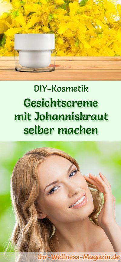 DIY-Kosmetik-Rezept : Gesichtscreme mit Johanniskraut selber machen  #diy #selbermachen #gesichtspflege