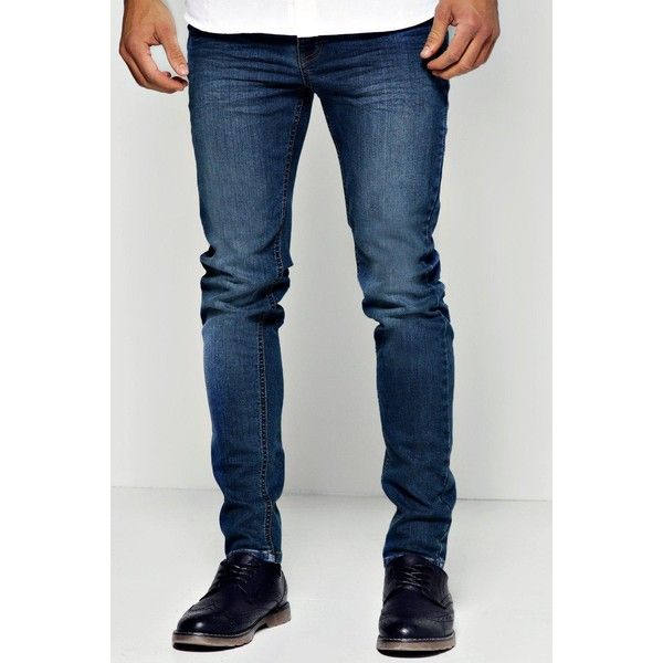 BoohooMAN Blue Skinny Jean (3925 RSD) ❤ liked on Polyvore featuring men's fashion, men's clothing, men's jeans y blue