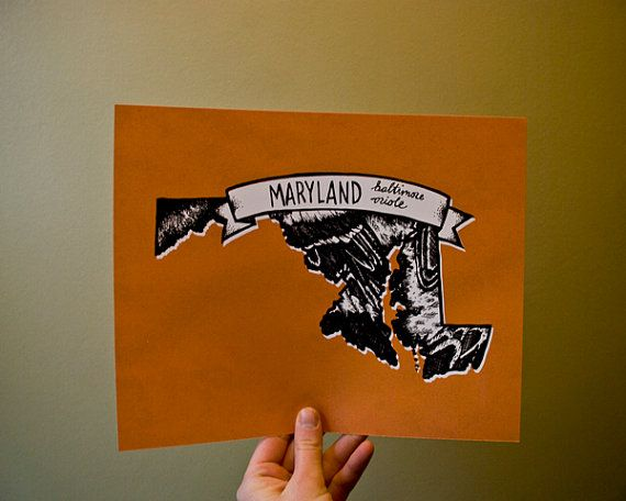 State prints using the colors and patterns of the state bird: 18 Maryland, Gift Ideas, 18 00, Baltimore Baby, Baltimore Orioles