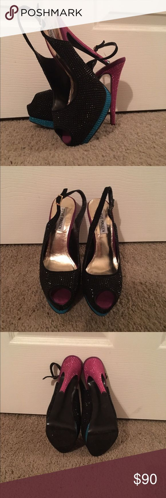 Steve Madden gem sling back heels Gorgeous Steve Madden sling back heels. Black, blue and a pink/purple. A few gems are missing, not even remotely noticeable. The strap is a black frayed material. Any questions just ask! Make me an offer  Steve Madden Shoes Heels