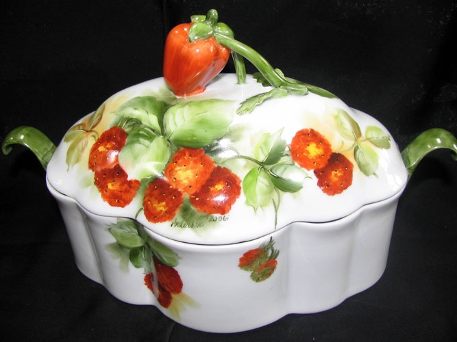 Strawberry casserole dish. For when he decides to cook real food