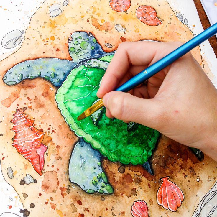 Aquarela Tartaruga Marinha. Watercolor Sea turtle.
