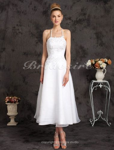 A-line Organza Tea-length Halter Wedding Dress with Beaded Appliques – $109.99