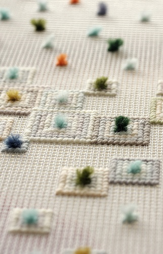 Fill in in same colour thread, in squares so it looks like graph paper texture. Use mini pom poms as plots on the graph!
