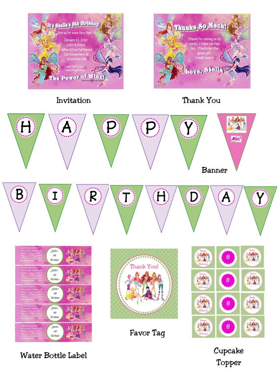 Winx+Club+Digital+Party+Pack+7+items+Invitation+Thank+by+Design13,+$18.00