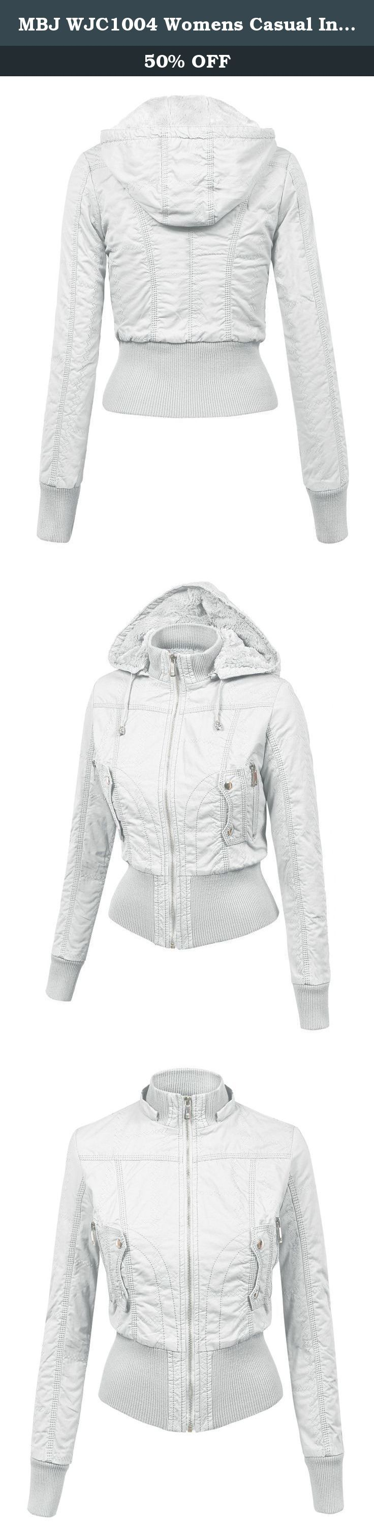 MBJ WJC1004 Womens Casual Inner Fleece Bomber Jacket with Removable Hoodie XS WHITE. The everyday bomber jacket, featuring a exposed zip up closure.Tunnel neck with separate rib panel and lined hood. 2 front pocket and 2 faux pockets with flap button closure. Rib trim on waist and sleeves. Inner fleece. Fully Lined. Light-Medium Weight. It can be worn causally throughout the day or dressed up with heels for a girls night out.