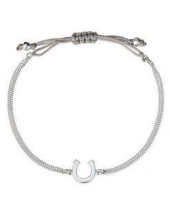 Bracelet porte bonheur cordon argent