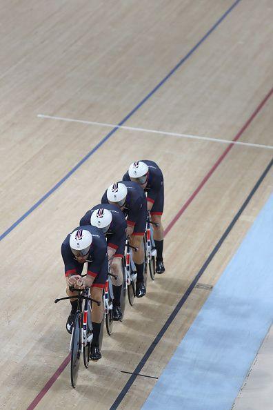Edward Clancy Steven Burke Owain Doull and Bradley Wiggins of Team Great Britain…