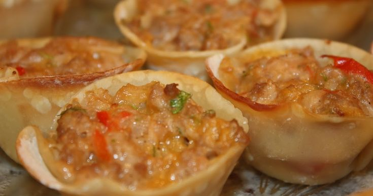 Angeli made these appetizers for our couples gourmet club. They were bursting with flavor and were delicious! baked wonton app...