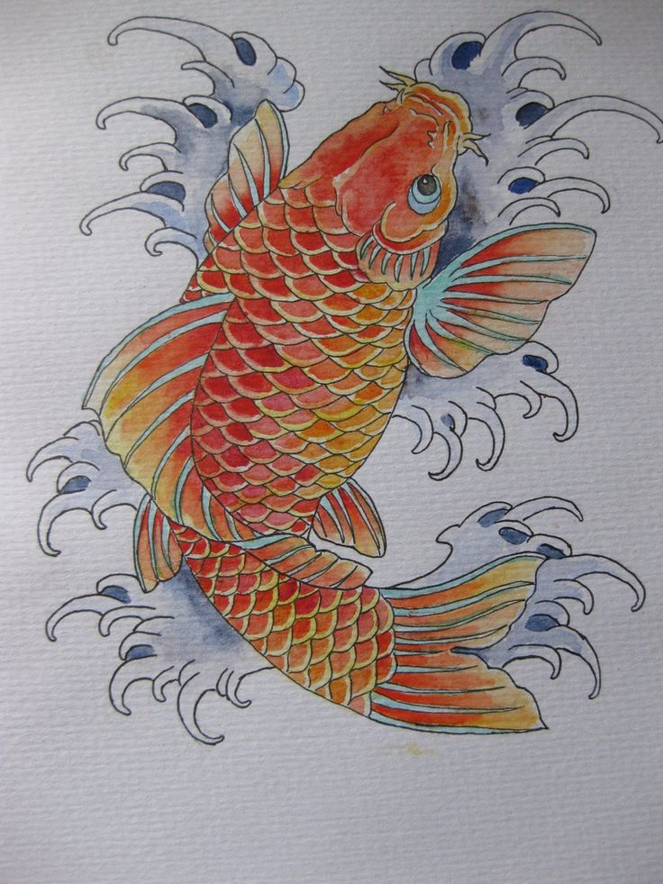 japanese koi oval tattoo designs | koi tattoo design by colouredpolo
