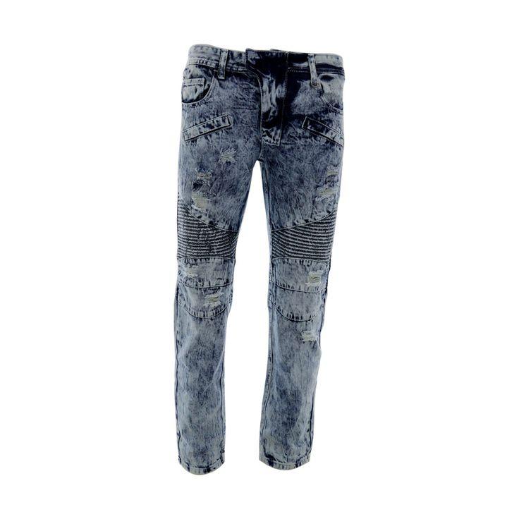 Skazi New York - Men's Ripped Moto Slim Straight Jeans - Ice Blue