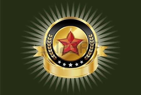 Золото металлические щиты и красные звезды на ваших брендинг шаблоны.