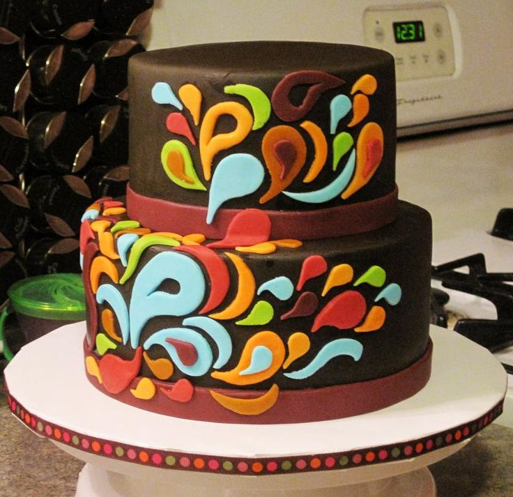 The chocolate fondant and side design and colors like this one but leaves instead of paisley.