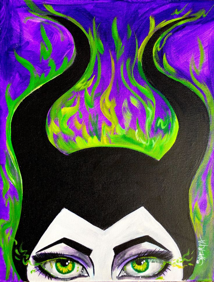 easy paintings maleficent sleeping beauty live paint along acrylic tutorial live
