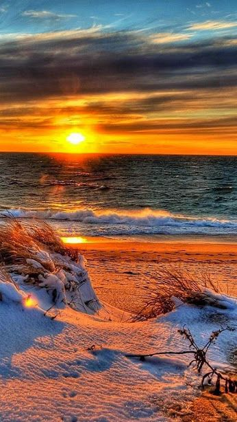 Soare, ocean si iarna