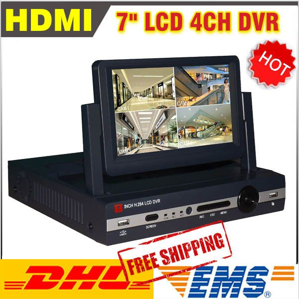 New 7 inch LCD DVR 4 channel H 264 cctv 4ch DVR Recorde Full D1 DVR recording video surveillance DVR cctv 4ch #Affiliate
