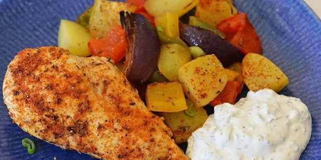 Kylling i ovn med grøntsager og kartofler