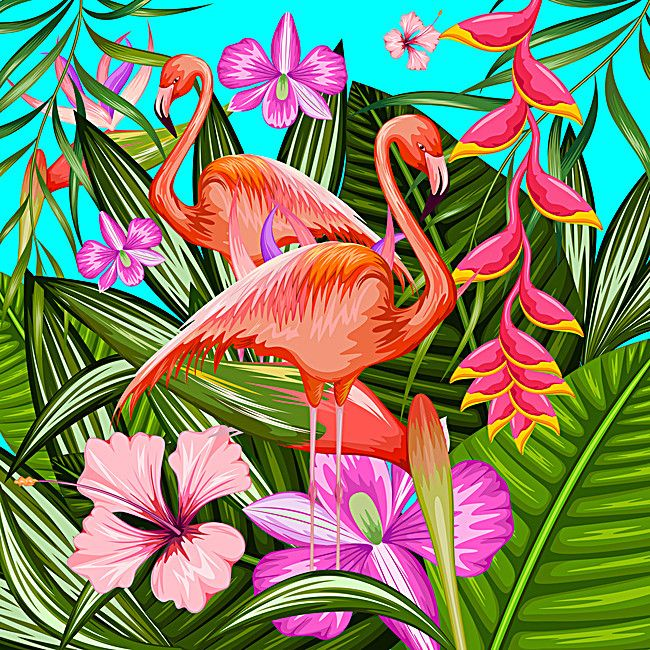 Background Tropical Flora And Fauna In 2020 Flora Flamingo
