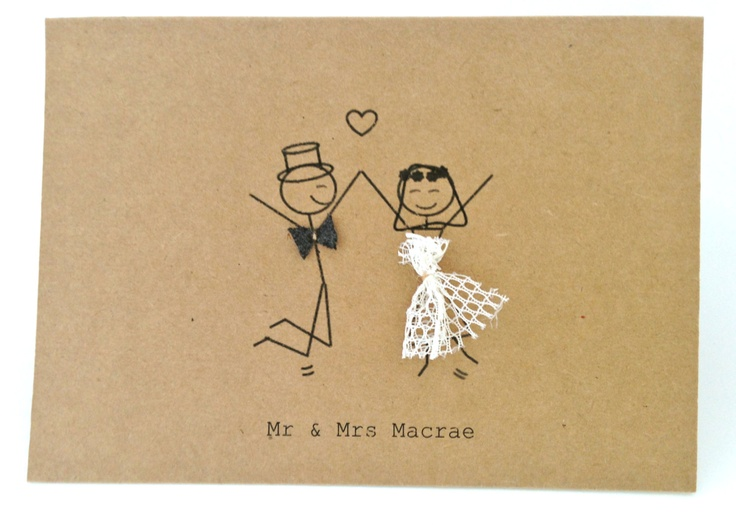 Stick Figure Wedding Invitations: Mr & Mrs Stick Figures #thankyou