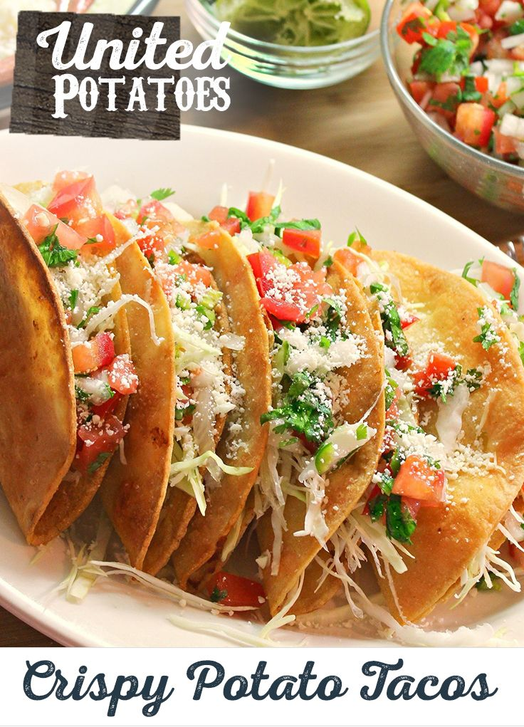 "Make your next taco night ""muy bueno"" with this creative Vegetarian Crispy Potato Tacos recipe. Colorado ain't done yet, add some hatch green chilies to that mini mountain of crispy potatoes. #Colorado"