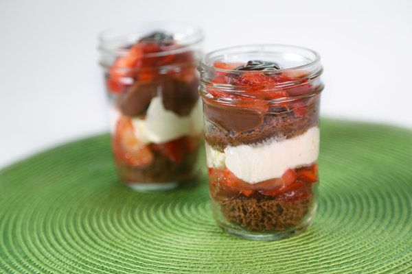 Layers of Love Angel Food Trifle with Strawberries, Cream and Chocolate by Ryan Hutmacher