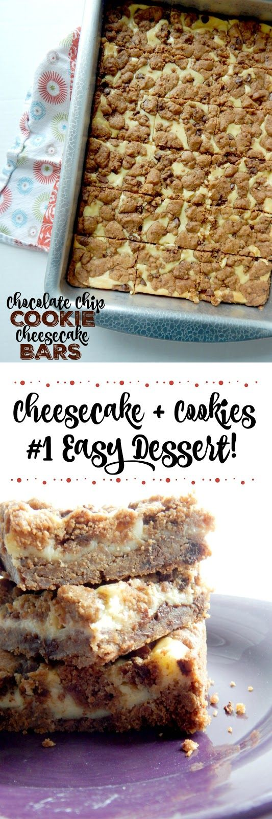 Chocolate Chip Cookie Cheesecake Bars...for those that love chocolate chip cookies AND love cheesecake! Crispy on the cookie edges with a creamy middle cheesecake layer. The perfect bar dessert!