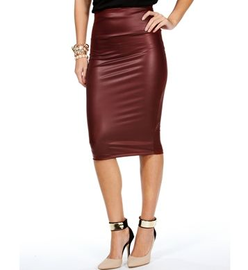 Maroon Faux Leather Skirt