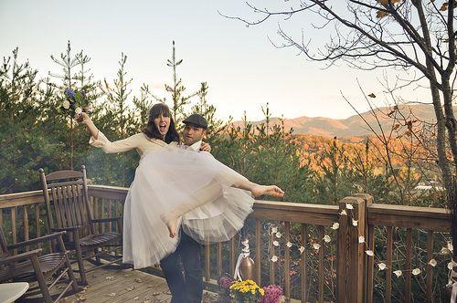Carla & Matt's intimate mountain cabin wedding | Offbeat Bride