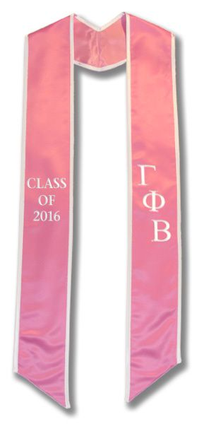 Gamma Phi Beta Graduation Stole - Light Pink Satin with White Trim