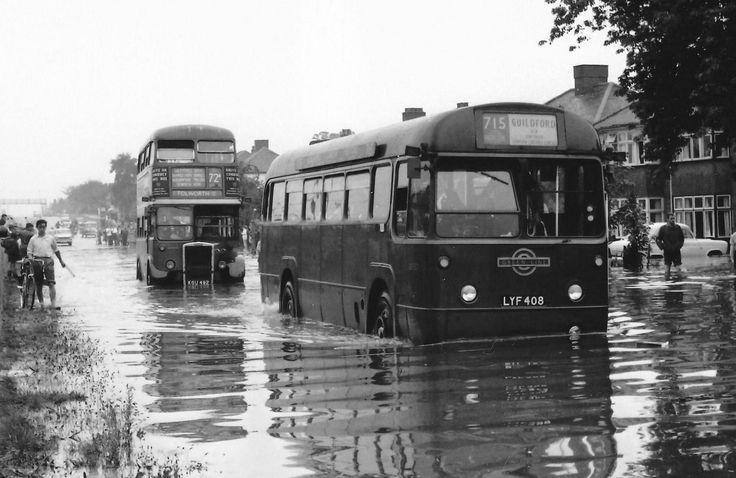 London transport Greenline RF57 & RTL405 Kingston 1960. Seen on Kingston By Pass in a flood in 1960.
