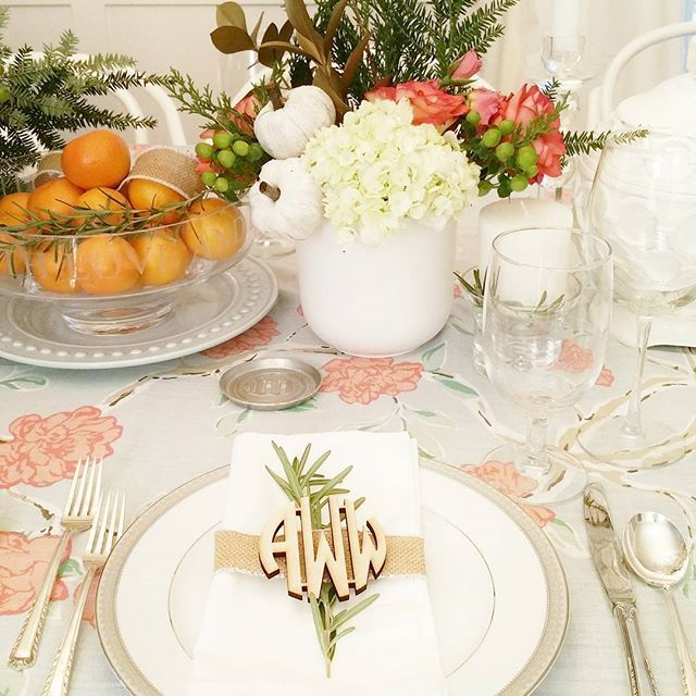 """ASH STREET INTERIORS (@ashstinteriors) on Instagram: Doing some planning for holiday tables and bars tonight and throwing it back to last years Thanksgiving table. Otherwise knows as """"The one planned around a Target shower curtain"""" #tablescape #tablesetting #holidaytable #holidaystyle #tabletop #setthetable #thanksgiving #bhgcelebrate #tradhometable #tableinspiration #whitepumpkin #monogram #ashstfloral #bhgflowers #flowersofinstagram #floraldesign #fallcolors"""