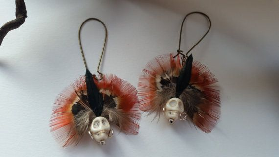 Tribal Chief Skull and Feather Dangly Earrings by OnenJewellery, £15.00