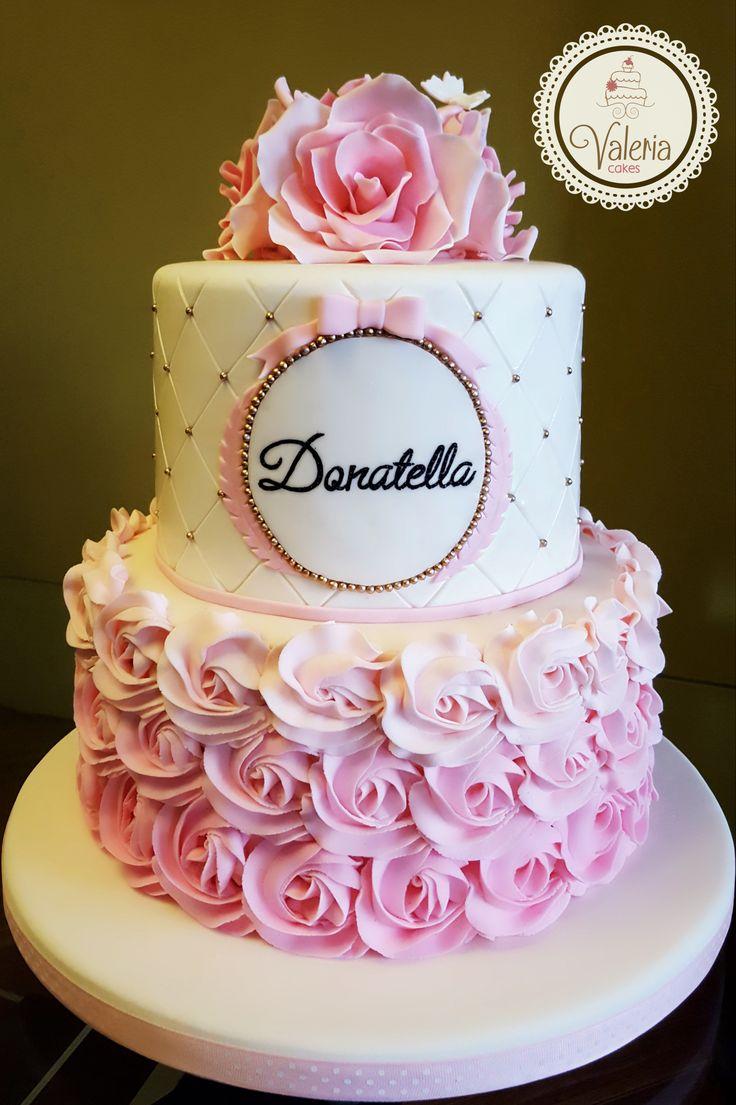 Delicated baptism rose cake ❤️ / Torta de bautizo con rosas