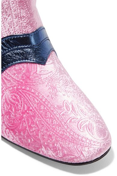 MR by Man Repeller - I'm Here To Party Metallic Leather-trimmed Embossed Velvet Boots - Pink - IT38.5