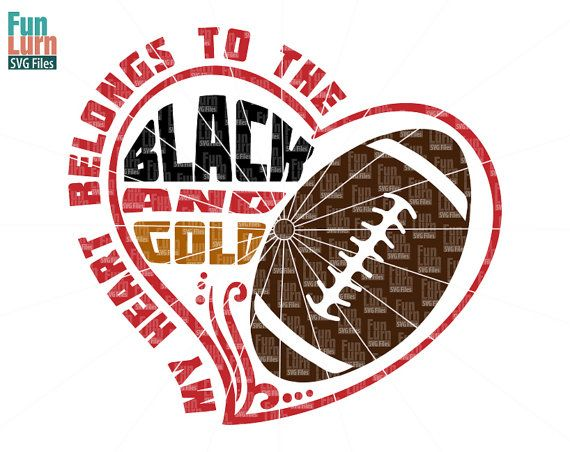 My heart belongs to the black and gold Football by FunLurnSVG