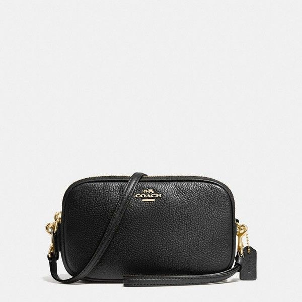 Coach Crossbody Clutch ($175) ❤ liked on Polyvore featuring bags, handbags, clutches, cross body, double zipper handbag, coach clutches, pocket purse and long strap handbags