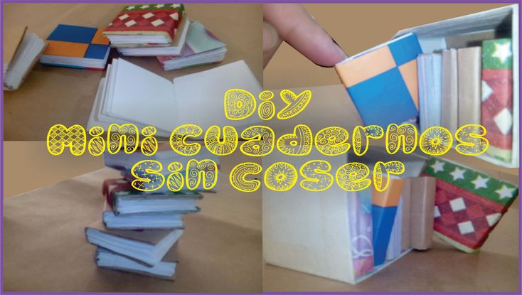 ♥★♥DIY  Mini Cuadernos sin coser -  Tiny books Bookbinding mini books (O...