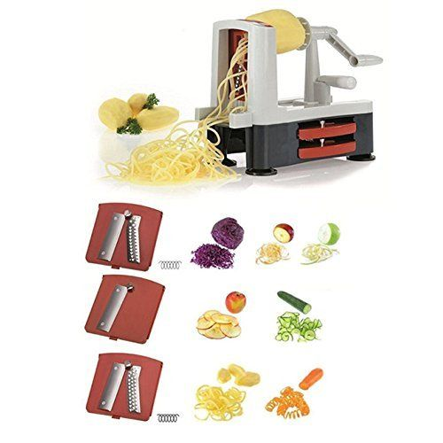 Spiralizzatore, Hompo Affettaverdure a Spirale spaghetti di verdure Tagliaverdure/ Pelapatate/ Zucchine/ Pasta/ Tagliatella Spaghetti + Pennello