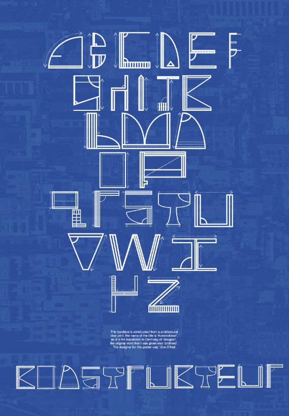 #Type #Typography #Design  Typography made out of blue prints