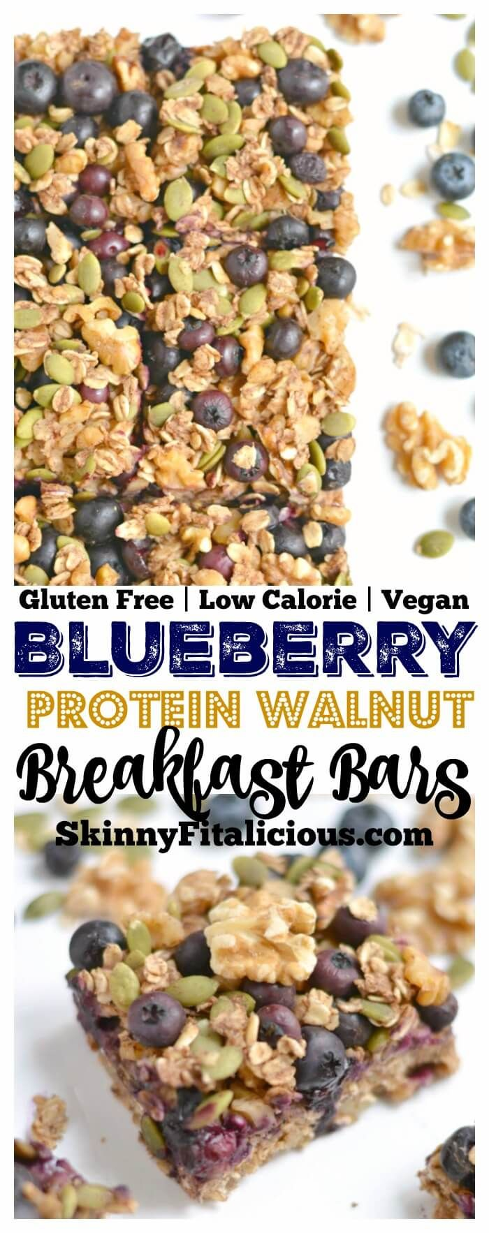 Take your granola bars up a notch with a chewy, oven-baked these Blueberry Protein Walnut Breakfast Bars packed nutrients & antioxidants! Made with a protein-walnut-oat base and topped with a blueberry, walnut & oat crumble this breakfast has everything & more! Gluten Free + Vegan + Low Calorie Made with @CA Walnuts! #ad #walnuts #CG
