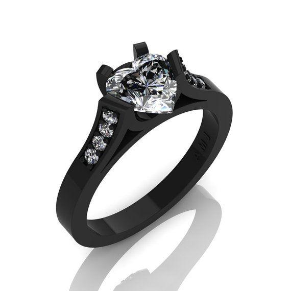 Hermosa K negro oro 14 10 Ct corazón zafiro por DesignMasters