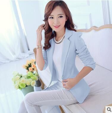 New Spring Autumn Fashion Single Button Blazer Femenino White/Blue Ladies Blazer Female