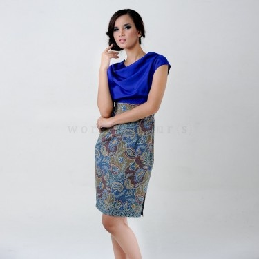 Batik Dress in elegant blue
