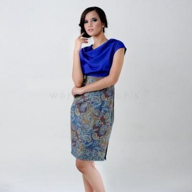Batik Dress in elegant blue