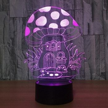 Cartoon Mushroom House Design Colors Change Touch Night Light - TRANSPARENT
