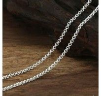 """2 mm Sterling Silver Double-Ring Rolo Chain 18""""-24"""""""