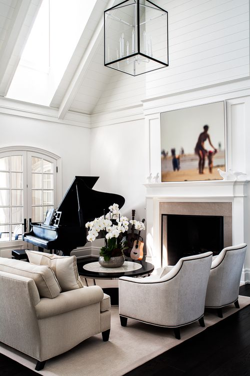 Modern Black And White Living Room With Geometric Pendant Light Large Artwork Piano