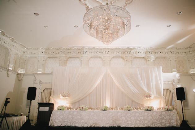 A traditional head table in the Spanish Ballroom at Rosewood Hotel Georgia.  Photo by Jamie Delaine, decor by Upright Decor