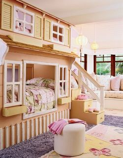 Fun kids' room idea! Doll House bunk beds.