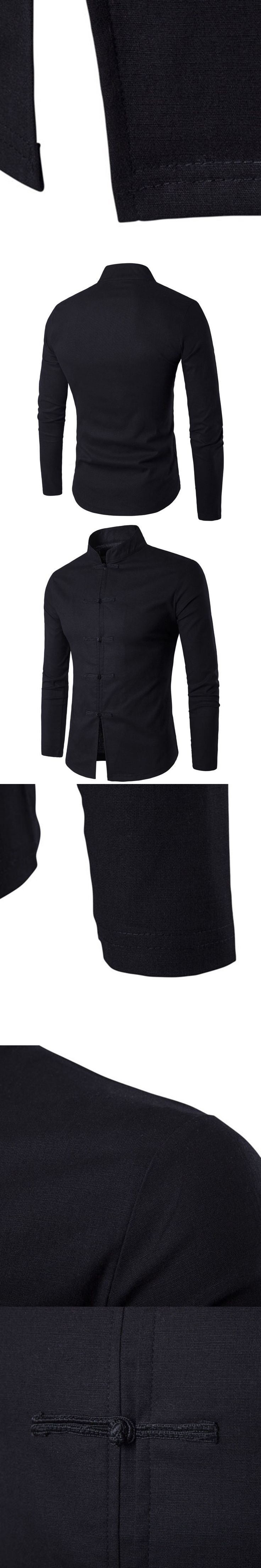 Solid Color Shirts 2017 Men Slim Fit Jackets Mandarin Collar Shirt Wedding Jacket Long Sleeve Kung Fu Shirt Chinese Tang tops